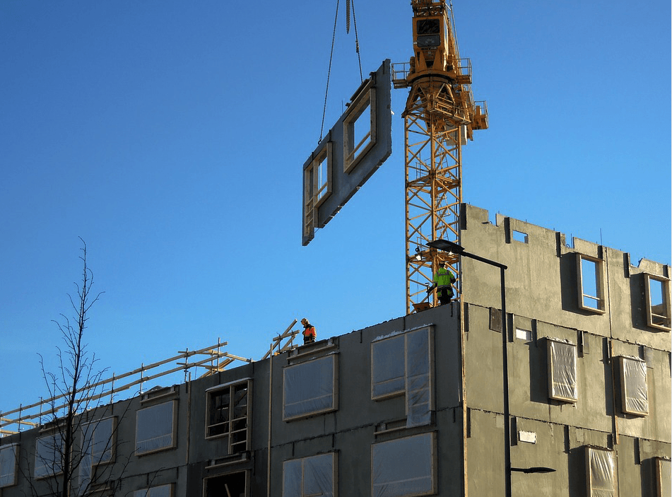 modular building being constructed on site